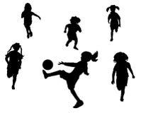 Juego de fútbol de las muchachas Foto de archivo libre de regalías