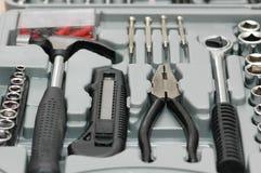 Juego de herramientas con el vario carpintero Fotografía de archivo