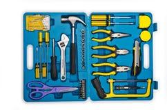 Juego de herramientas con muchas herramientas Foto de archivo libre de regalías