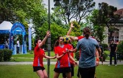 Juego de Korfball en festival de los deportes Imagen de archivo
