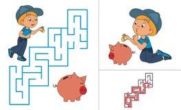 Juego de la criba Un juego del bebé de la historieta con el cerdo Fotos de archivo libres de regalías