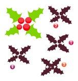 Juego de la dimensión de una variable de Navidad: acebo Fotos de archivo libres de regalías