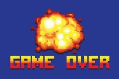 Juego de la explosión sobre el ejemplo retro del estilo del arte del pixel del mensaje Foto de archivo libre de regalías