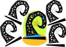 Juego de la forma de la silueta del sombrero de la bruja Imagen de archivo libre de regalías