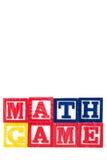 Juego de la matemáticas - bloques del bebé del alfabeto en blanco Fotos de archivo