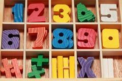 Juego de la matemáticas para la edad menor con las muestras de números Fotografía de archivo libre de regalías