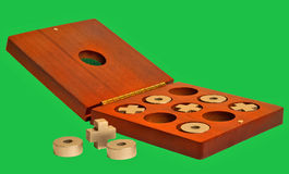 Juego de la punta de Tic tac en rectángulo de madera natural viejo imagen de archivo libre de regalías