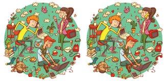 Juego de la representación visual de las diferencias del hallazgo 20 Solución en capa ocultada Foto de archivo libre de regalías