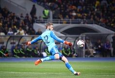 Juego 2016 de la ronda de calificación del EURO de la UEFA Ucrania contra España Fotografía de archivo