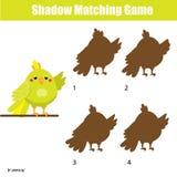 Juego a juego de la sombra Embroma actividad con el loro de la historieta Foto de archivo libre de regalías