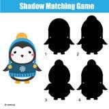 Juego a juego de la sombra Embroma actividad con el pingüino lindo del invierno ilustración del vector