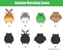Juego a juego de la sombra Embroma actividad con los animales lindos Imagen de archivo