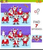 Juego de las diferencias con los caracteres de Santa Claus stock de ilustración