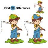 Juego de las diferencias del hallazgo (pescador del niño pequeño) libre illustration