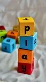 Juego de los bloques de los niños Foto de archivo