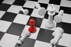 Juego de mesa del ajedrez, concepto competitivo del negocio, espacio 3D de la copia stock de ilustración