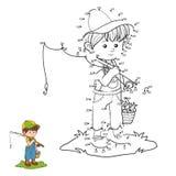 Juego de números (pescador del niño pequeño) libre illustration