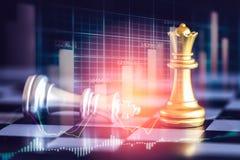 Juego de negocio en el mercado de acción digital financiero y el backgr del ajedrez Imagen de archivo libre de regalías