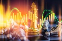 Juego de negocio en el mercado de acción digital financiero y el backgr del ajedrez Fotografía de archivo