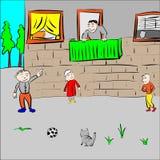 Juego de niños en la yarda Fotos de archivo libres de regalías