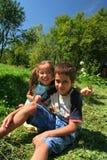 Juego de niños feliz Imágenes de archivo libres de regalías