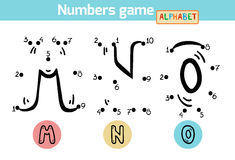 Juego de números (alfabeto): letras M, N, O Foto de archivo libre de regalías