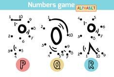 Juego de números (alfabeto): letras P, Q, R Fotografía de archivo