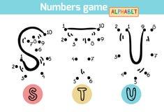 Juego de números (alfabeto): letras S, T, U Foto de archivo libre de regalías