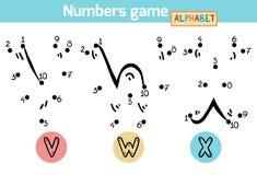 Juego de números (alfabeto): letras V, W, X Imagen de archivo libre de regalías