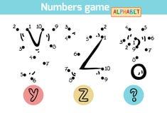Juego de números (alfabeto): letras Y, signo de Z y de interrogación Imagenes de archivo
