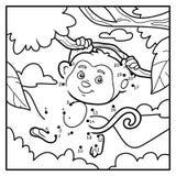 Juego de números, punto a puntear (mono y fondo) Imagen de archivo libre de regalías