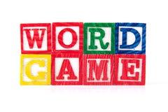 Juego de palabra - bloques del bebé del alfabeto en blanco Imagenes de archivo