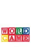 Juego de palabra - bloques del bebé del alfabeto en blanco Fotos de archivo