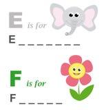 Juego de palabra del alfabeto: elefante y flor Imágenes de archivo libres de regalías