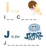 Juego de palabra del alfabeto: helado y medusas Imagenes de archivo