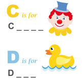 Juego de palabra del alfabeto: payaso y pato Fotografía de archivo