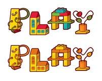 Juego de palabra. Letras hechas de juguetes libre illustration