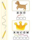 Juego de palabra para los cabritos - perro y corona Imagen de archivo