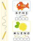 Juego de palabra para los cabritos - pescados y limón Imagenes de archivo