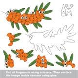 Juego de papel del niño Uso fácil para los niños con Buck Thorn Branch stock de ilustración