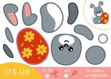 Juego de papel de la educación para los niños, el conejo de Pascua y el huevo