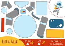 Juego de papel para los niños, astronauta de la educación ilustración del vector