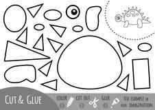 Juego de papel para los niños, dinosaurio de la educación ilustración del vector