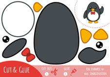 Juego de papel para los niños, pingüino de la educación stock de ilustración