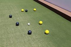 Juego de pelota de Bocce en juego Fotografía de archivo