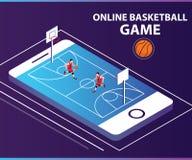 Juego de pelota en línea de la cesta donde la gente está jugando al juego de pelota de la cesta en línea ilustración del vector