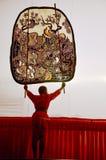 Juego de sombra de las marionetas de Nang Yai en Wat Khanon National Museum, Ratcha Buri Tailandia Fotografía de archivo