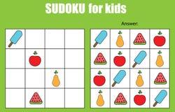 Juego de Sudoku para los niños Embroma la hoja de la actividad Foto de archivo