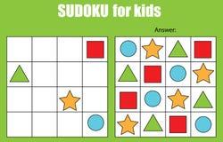 Juego de Sudoku para los niños Embroma la hoja de la actividad Fotos de archivo libres de regalías