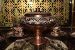 Juego de té antiguo del estilo del otomano Foto de archivo